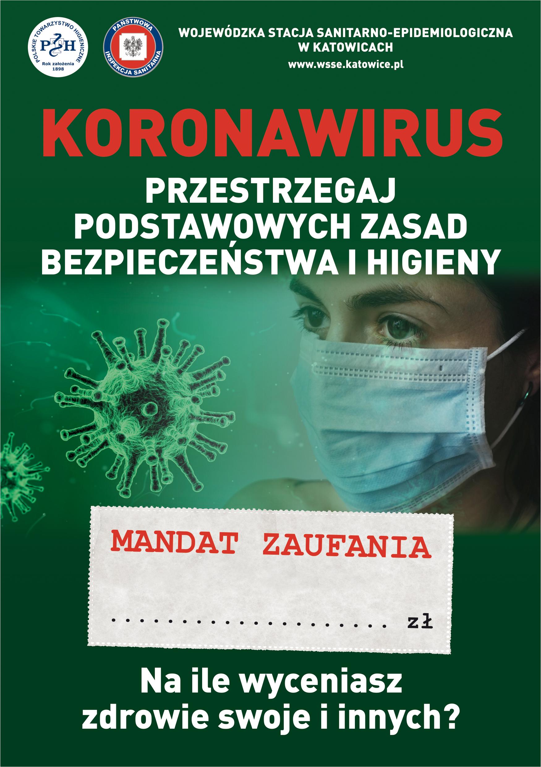 Ulotka informacyjna o koronawirusie udostępniona przez Powiatową Stację Sanitarno - Epidemiologiczną w Jaworznie: